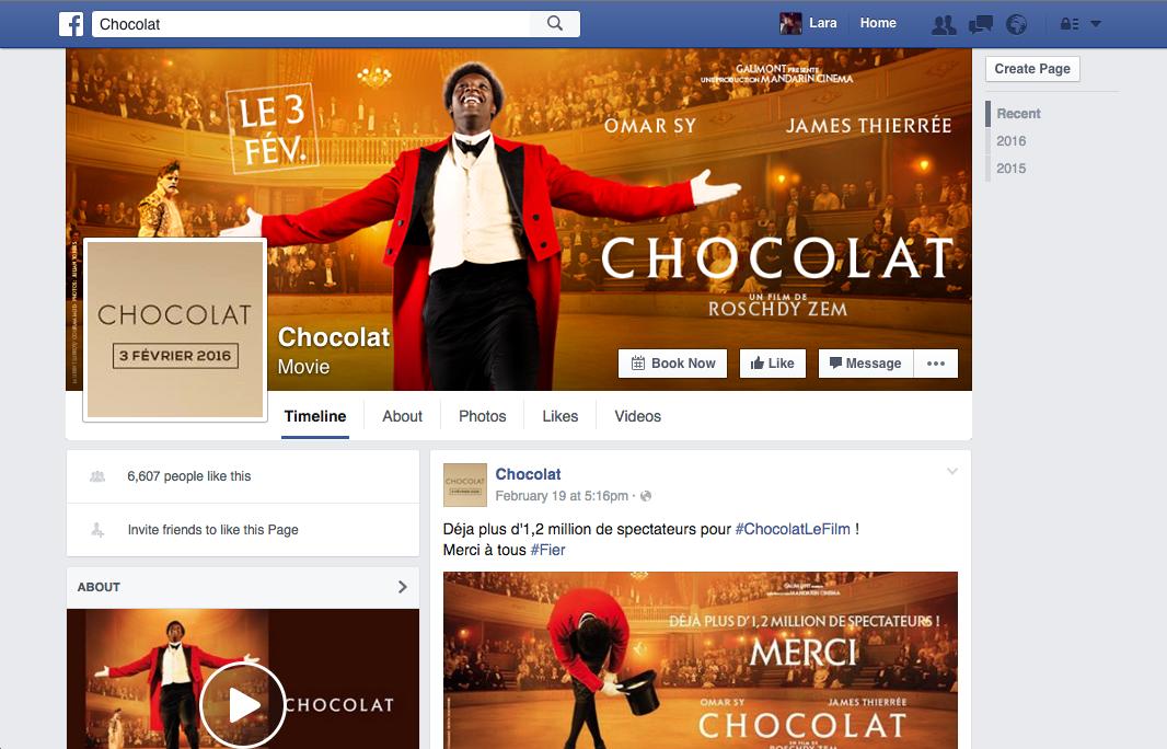 Page Facebook Chocolat