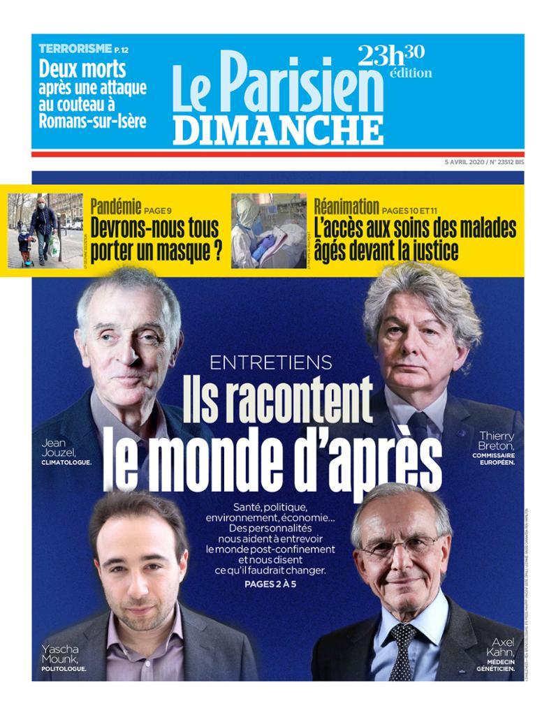 Une du Parisien, le 5 Avril 2020
